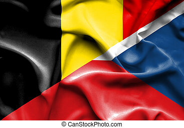 Waving flag of Czech Republic and Belgium