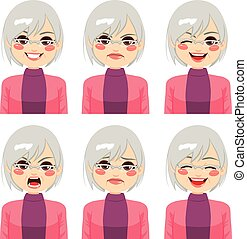 Senior Woman Face Expressions - Senior adult woman making...