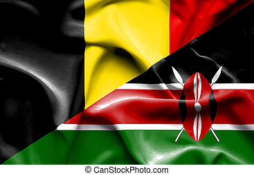Waving flag of Kenya and Belgium