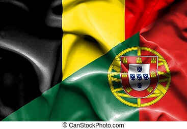 Waving flag of Portugal and Belgium