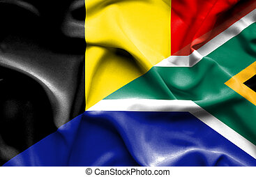 Waving flag of South Africa and Belgium