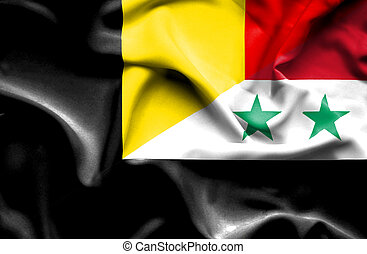 Waving flag of Syria and Belgium