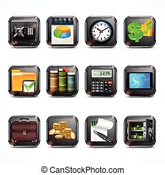 Set of business icons in square