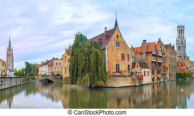 Brugge canals at sunrise - View from the Rozenhoedkaai in...