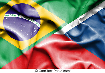 Waving flag of Czech Republic and Brazil