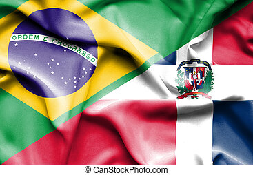 Waving flag of Dominican Republic and Brazil