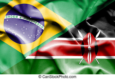Waving flag of Kenya and Brazil