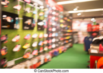 Sport store, shopping mall abstract defocused blurred...