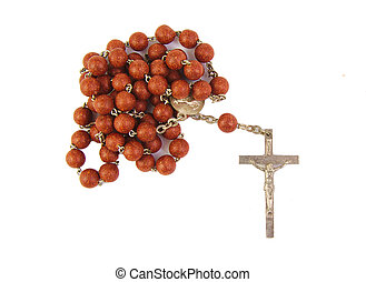Wooden rosary with wood cross isolated on a white background