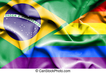 Waving flag of Pride and Brazil