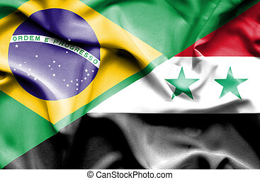 Waving flag of Syria and Brazil