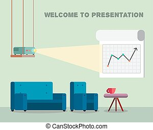 Presentation room with projector and comfortable seats -...