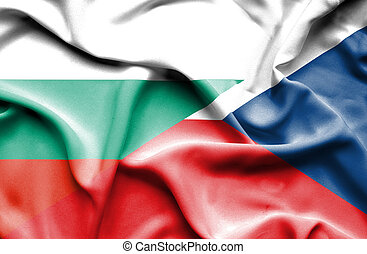 Waving flag of Czech Republic and Bulgaria