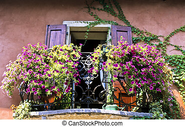 Balcony with Flowers - A balcony with flowers in Verona,...