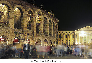 Arena di Verona by night. Verona, Italy - The arena die...