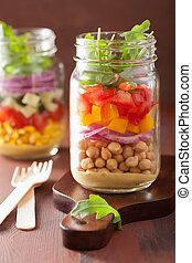 healthy vegetable chickpea salad in mason jar