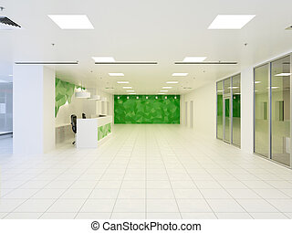 3d illustration of abstract modern hall in office building