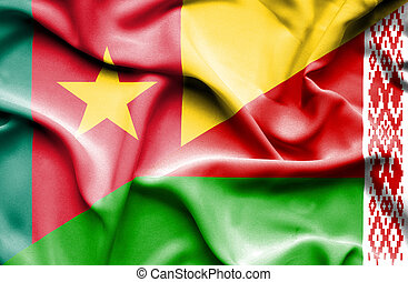 Waving flag of Belarus and Cameroon
