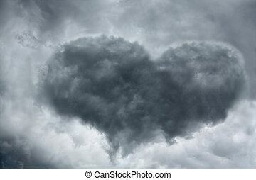 Heart-shaped cloud - Heart shaped cloud on stormy sky