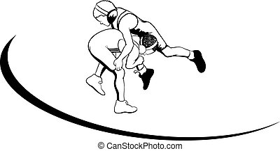 Youth Wrestlers - Vector illustration of two boys wrestling.