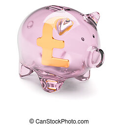 Piggy bank with pound sterling sign inside isolated on white