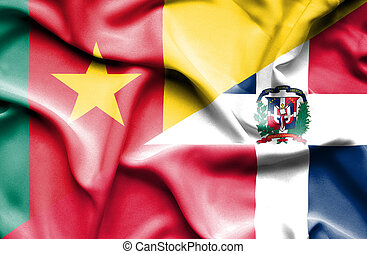 Waving flag of Dominican Republic and Cameroon