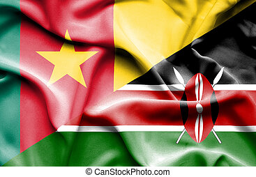 Waving flag of Kenya and Cameroon