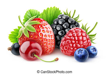 Fresh berries - Various summer berries over white background...
