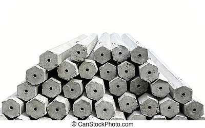The pile of hexagon concrete foundation piles isolated in...
