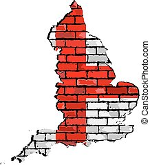 England map on a brick wall.eps