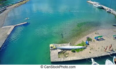 Aerial view of Mali Ston Bay - Flying with copter from the...