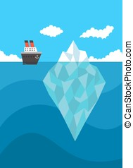 Ship near iceberg vector danger concept on blue background