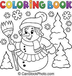 Coloring book snowwoman topic 1 - eps10 vector illustration