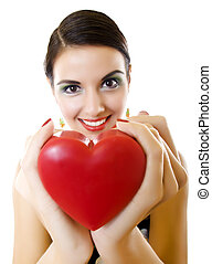 woman offering her heart