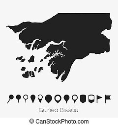 Map with pointers of the country of Guinea Bissau - A Map...