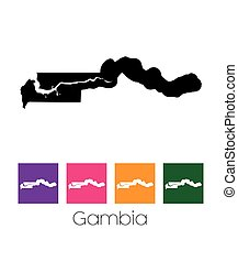 Map of the country of Gambia - A Map of the country of...