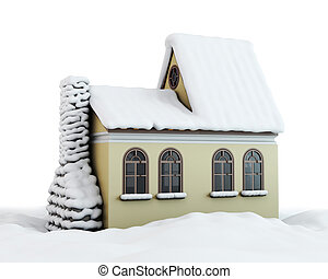 Winter house on a white