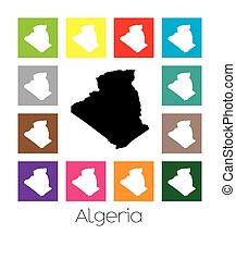 Multicoloured Map of the country of Algeria - Multicoloured...