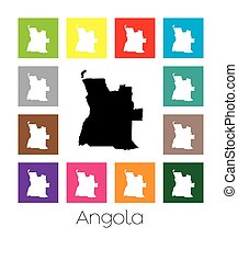 Multicoloured Map of the country of Angola - Multicoloured...