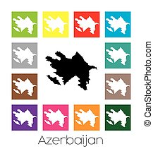 Multicoloured Map of the country of Azerbaijan -...