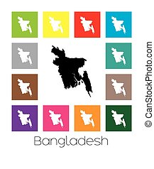 Multicoloured Map of the country of Bangladesh -...