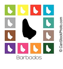 Multicoloured Map of the country of Barbados - Multicoloured...