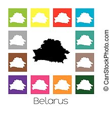 Multicoloured Map of the country of Belarus - Multicoloured...