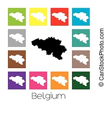Multicoloured Map of the country of Belgium - Multicoloured...