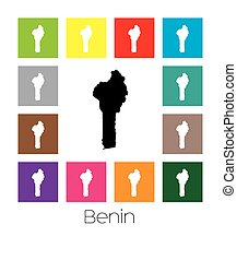 Multicoloured Map of the country of Benin - Multicoloured...