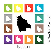Multicoloured Map of the country of Bolivia - Multicoloured...