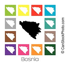Multicoloured Map of the country of Bosnia - Multicoloured...