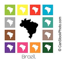 Multicoloured Map of the country of Brazil - Multicoloured...