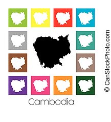 Multicoloured Map of the country of Cambodia - Multicoloured...
