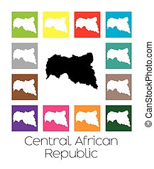 Multicoloured Map of the country of Central African Republic...
